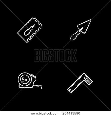 Construction tools chalk icons set. Rectangular notched, triangular shovel, measuring tape, set square. Isolated vector chalkboard illustrations