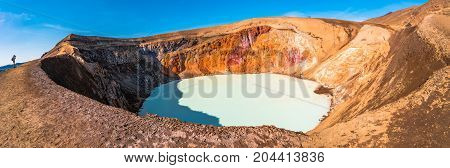 Geothermal lake Viti at the crater of Askja, Iceland, summer