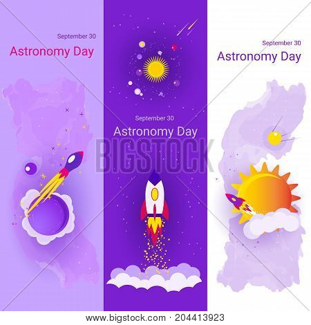 Set of three flat banners on the theme of the Astronomy Day. Vector illustration