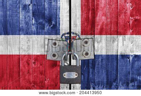 Dominican Republic flag on door with padlock