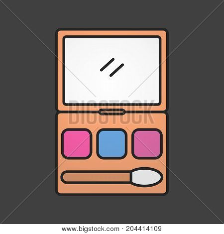 Makeup kit color icon. Cosmetic. Women goods. Powder, rouge, blusher, eye shadows in case. Isolated vector illustration