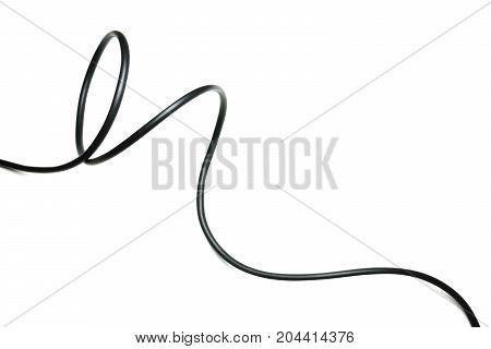 black wire cable isolated on a white background abstraction.
