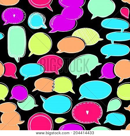 Set of speech bubbles, vector hand drawn seamless pattern. endless color abstract background, EPS 8