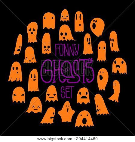 Big orange set of cartoon spooky scary ghosts character, hand-drawn ghosts with various expressions, funny night symbol for halloween celebration, round frame, isolated, EPS 8