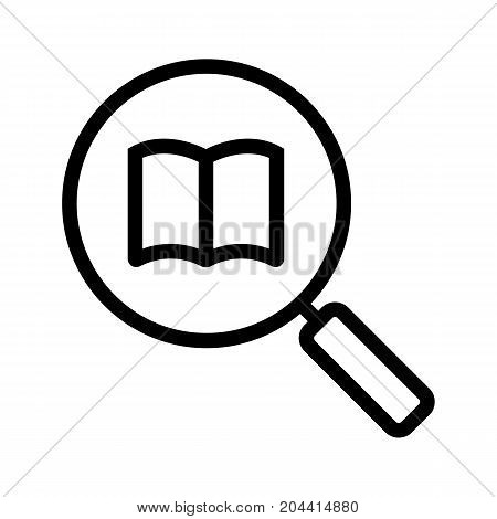 Book search linear icon. Thick line illustration. Magnifying glass with book. Contour symbol. Vector isolated outline drawing