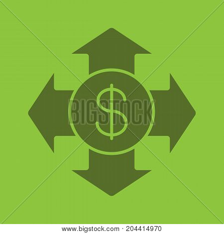 Money spending glyph color icon. Expanses silhouette symbol. USA dollar with all direction arrows. Negative space. Vector isolated illustration