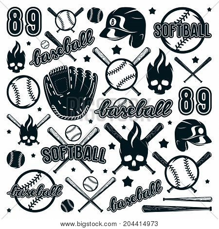 Icon And Badge Set Of Baseball And Softball Equipment