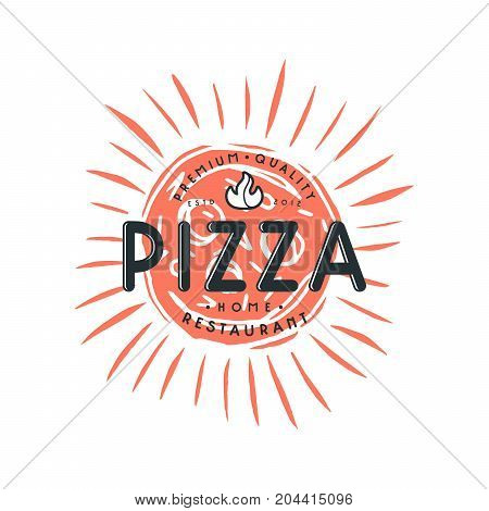 Stock vector design cover for pizza boxes. Illustration in linocut style