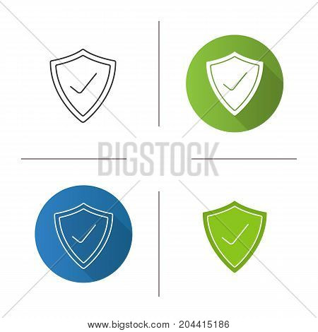 Security check icon. Flat design, linear and glyph color styles. Protection shield with tick mark. Isolated vector illustrations