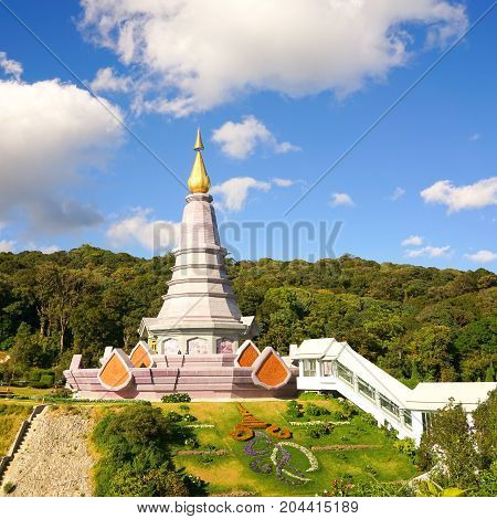 Landscape of pagoda on the top of Inthanon mountain Chiang Mai Thailand.