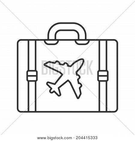 Travel luggage suitcase linear icon. Thin line illustration. Contour symbol. Vector isolated outline drawing