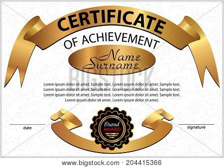 Certificate or diploma. Elegant design with golden ribbons. Winning the competition. Vector illustration.