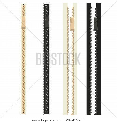 Realistic vector zippers, isolated on white background. Collection