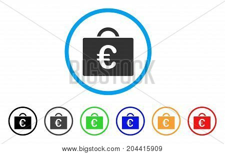 Euro Bookkeeping Case icon. Vector illustration style is a flat iconic euro bookkeeping case gray rounded symbol inside light blue circle with black, gray, green, blue, red,
