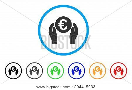 Euro Care Hands icon. Vector illustration style is a flat iconic euro care hands gray rounded symbol inside light blue circle with black, gray, green, blue, red, orange color additional versions.