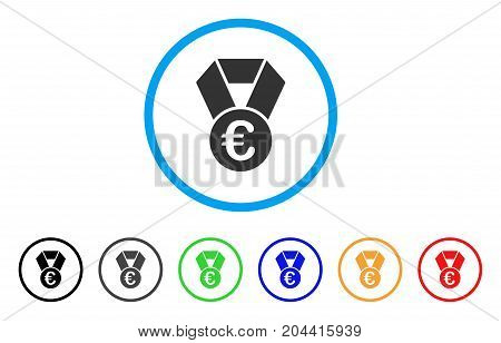 Euro Champion Medal icon. Vector illustration style is a flat iconic euro champion medal gray rounded symbol inside light blue circle with black, gray, green, blue, red, orange color variants.
