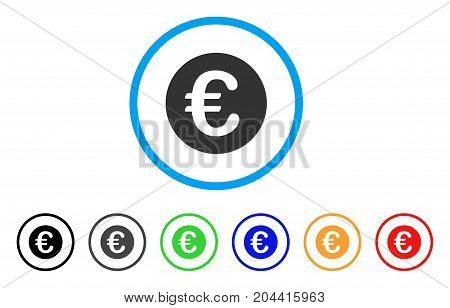 Euro Coin icon. Vector illustration style is a flat iconic euro coin grey rounded symbol inside light blue circle with black, gray, green, blue, red, orange color additional versions.