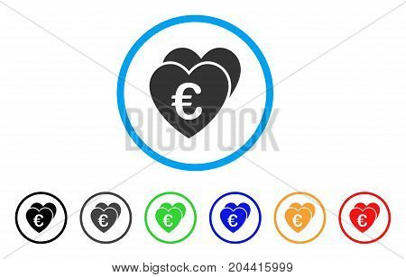Euro Favorites Hearts icon. Vector illustration style is a flat iconic euro favorites hearts gray rounded symbol inside light blue circle with black, gray, green, blue, red,