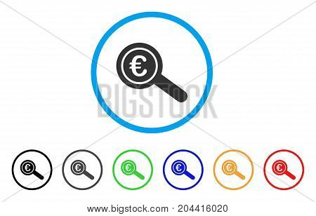 Euro Financial Audit icon. Vector illustration style is a flat iconic euro financial audit gray rounded symbol inside light blue circle with black, gray, green, blue, red, orange color versions.