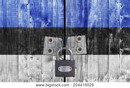 Estonia flag on door with padlock close