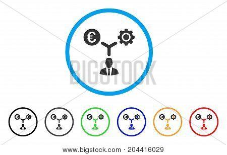 Euro Financial Development icon. Vector illustration style is a flat iconic euro financial development grey rounded symbol inside light blue circle with black, gray, green, blue, red,