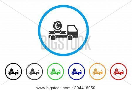 Euro Gift Delivery icon. Vector illustration style is a flat iconic euro gift delivery grey rounded symbol inside light blue circle with black, gray, green, blue, red, orange color versions.