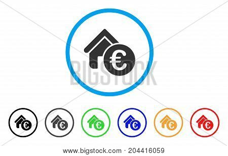 Euro Home Rent icon. Vector illustration style is a flat iconic euro home rent gray rounded symbol inside light blue circle with black, gray, green, blue, red, orange color variants.
