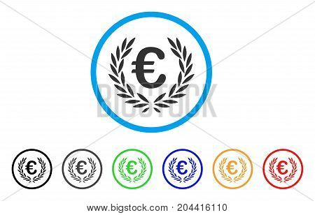 Euro Laurel Wreath icon. Vector illustration style is a flat iconic euro laurel wreath grey rounded symbol inside light blue circle with black, gray, green, blue, red, orange color variants.