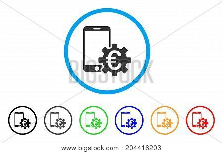 Euro Mobile Bank Configuration icon. Vector illustration style is a flat iconic euro mobile bank configuration gray rounded symbol inside light blue circle with black, gray, green, blue, red,