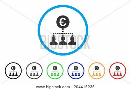 Euro Payment Clients icon. Vector illustration style is a flat iconic euro payment clients gray rounded symbol inside light blue circle with black, gray, green, blue, red,