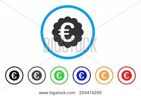 Euro Quality Seal icon. Vector illustration style is a flat iconic euro quality seal gray rounded symbol inside light blue circle with black, gray, green, blue, red, orange color versions.