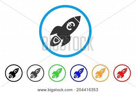 Euro Rocket Startup icon. Vector illustration style is a flat iconic euro rocket startup grey rounded symbol inside light blue circle with black, gray, green, blue, red, orange color variants.