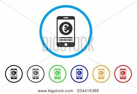 Euro Smartphone Banking icon. Vector illustration style is a flat iconic euro smartphone banking gray rounded symbol inside light blue circle with black, gray, green, blue, red,
