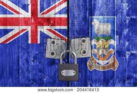Falkland Islands flag on door with padlock