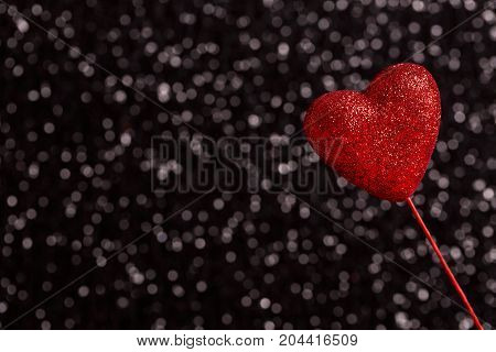 Valentine's day theme with heart shaped decoration on bokeh background