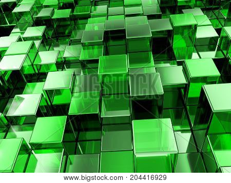Abstract Green Cubes Background 3D Illustration