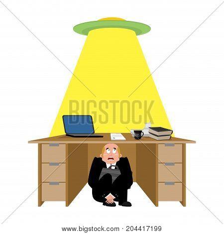 Businessman Scared Under Table Of Ufo. Frightened Business Man Under Work Board. Aliens. Boss Fear O