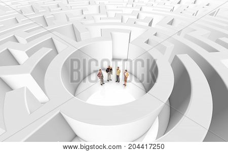miniature people meeting ina maze on a white background
