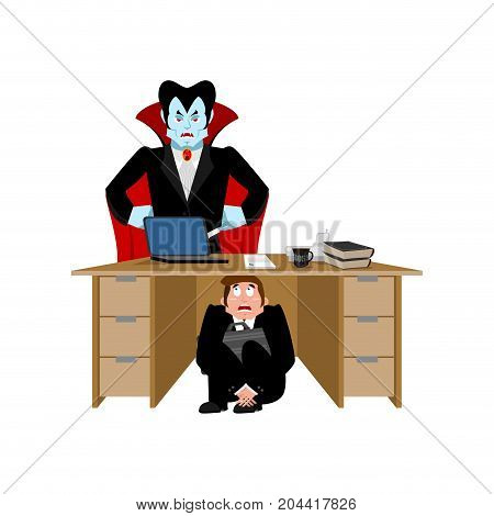 Businessman Scared Under Table Of Dracula Vampire. To Hide From Not To Drink Blood. Frightened Busin