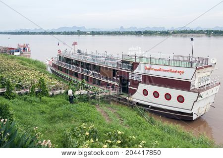 Nakhon Phanom, Thailand - May 2017: The Mekong Paradise Cruise, Tourist Boat Cruise Offering Comfort