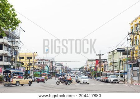 Nakhon Phanom, Thailand - May 2017: The Begin Of The Highway Road No.22 Or Nittayo Road From The Mek
