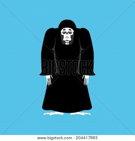 Grim Reaper Sad. Death Depression. Skeleton In Black Cloak Sorrowful. Vector Illustration