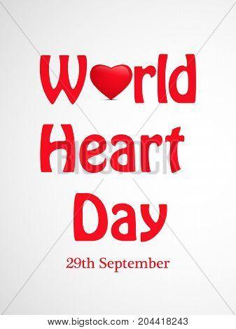 illustration of World Heart Day 29th September text on the occasion of World Heart Day
