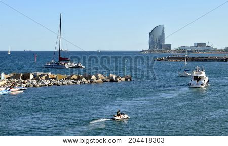 Beaches and port in the Mediterranean in Barcelona
