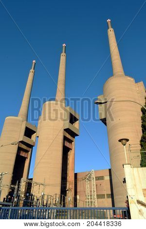Antigua thermal power station of the Besós Barcelona from year 1917 to 1966