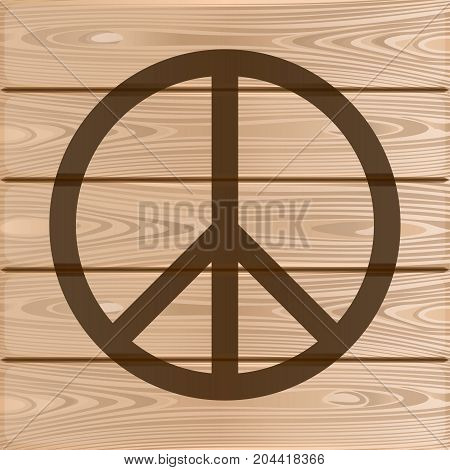 Hippie Peace Symbol. Peace Symbol on a wooden background. Vector illustration