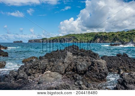 A view of the shoreline at Keanae Point on Maui Hawaii.