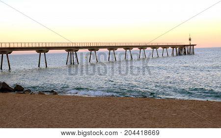 Beaches of the Mediterranean in Badalona Barcelona Spain