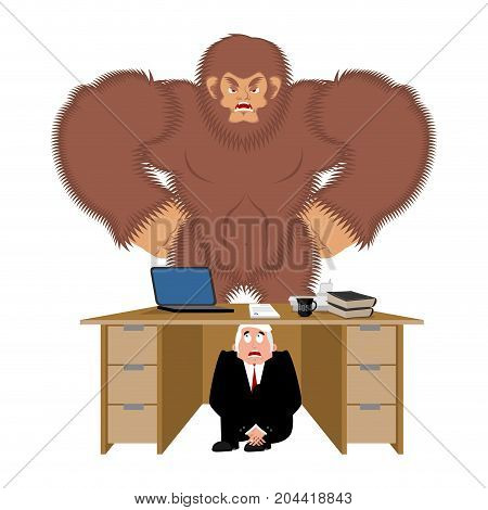 Businessman Scared Under Table Of  Bigfoot. To Hide From To Be Eaten. Frightened Business Man Under
