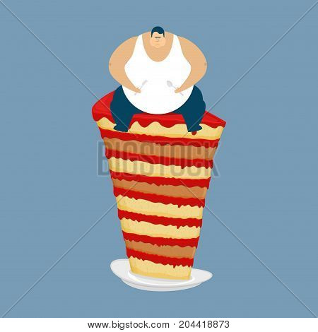 Fat Guy And Cake. Glutton Thick Man And Pie. Fatso Vector Illustration